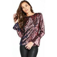 V by Very Multi Colour Swing Sleeve Top, Multi, Size 12, Women