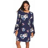 Vero Moda Bali Three-quarter Sleeve Short Dress, Navy, Size 8=S, Women