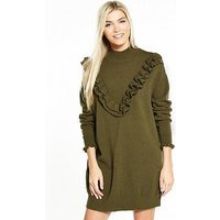 Vero Moda Brawley Svea Long Sleeve Short Dress - Olive, Olive, Size 10=M, Women