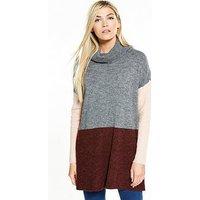 Vero Moda Fortuna Long Sleeve Longline Roll Neck Jumper, Zinfandel, Size 12=L, Women