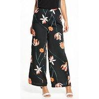 Vero Moda Rose Wide Pant, Black Floral, Size 6=Xs, Women