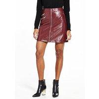 Vero Moda Dalian Short Faux Leather Skirt - Zinfandel, Zinfandel, Size 6=Xs, Women