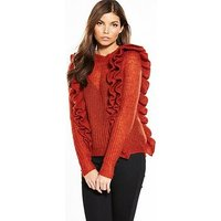 Y.A.S Lucia Ruffled Knitted Jumper, Red, Size 6=Xs, Women