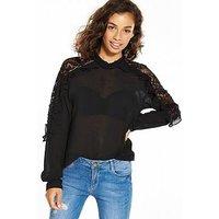 Vero Moda Vero Moda Petite Jacinta Long Sleeve Frill Top, Black, Size 8=S, Women