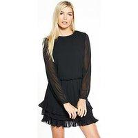 Vero Moda Freya Long Sleeve Short Dress, Black, Size 6=Xs, Women