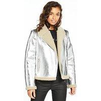 Vero Moda Petite Short Faux Suede Jacket - Silver, Silver, Size 10=M, Women