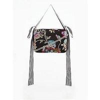 V by Very Oriental Bird Embellished Bow Chain Strap Bag, Black, Women