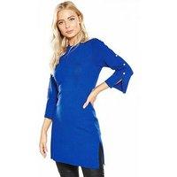 V by Very Press Stud Split Sleeve Tunic, Vibrant Blue, Size 20, Women