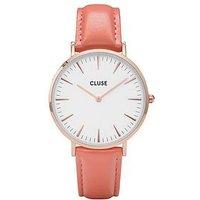 CLUSE La Bohème Rose Gold Flamingo Pink Leather Strap Ladies Watch, One Colour, Women