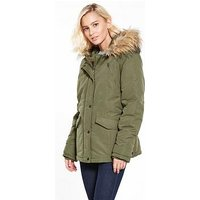 Vila Must Short Parka Jacket - Khaki, Khaki, Size 10=M, Women