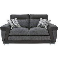 Geo Fabric And Faux Leather 2-Seater Sofa