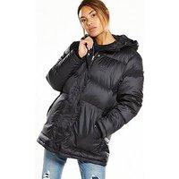 adidas Originals Mid Length Down Jacket - Black , Black, Size 14, Women