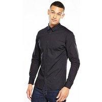 Selected Homme Long Sleeve Contrast Collar Shirt, Black, Size M, Men