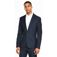 V by Very Slim Textured Suit Jacket, Navy, Size Chest 42, Length Long, Men