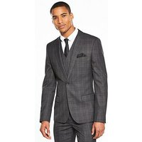 V by Very Slim Check Suit Jacket, Charcoal Grey, Size Chest 44, Length Long, Men