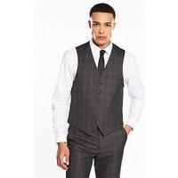 V by Very Slim Check Waistcoat, Charcoal Grey, Size Chest 34, Length Regular, Men