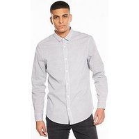V by Very Long Sleeve Grid Printed Stretch Shirt, White, Size S, Men