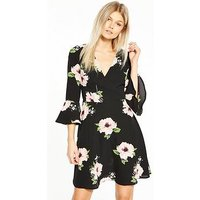 AX Paris Petite Flute Sleeve Dress, Black, Size 12, Women