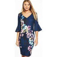 Little Mistress Floral Placement Print Dress, Multi, Size 12, Women