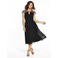 Little Mistress Petite Cap Sleeve Embellished Midi, Black, Size 4, Women