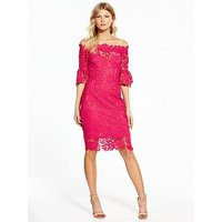 Paper Dolls Petite Crochet Bardot Dress, Pink, Size 16, Women