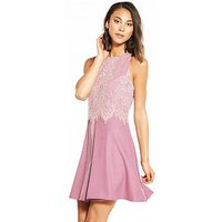 Little Mistress Mini Lace Dress - Blush, Blush, Size 16, Women