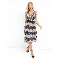 Little Mistress Two Tone Lace Stripe Midi Dress