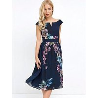 Little Mistress Bardot Print Midi Dress