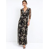 Little Mistress Long Sleeve Lace Maxi Dress - Black