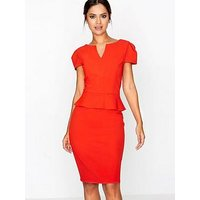 Paper Dolls Peplum Hem Self Belted Dress, Tomato, Size 12, Women