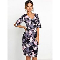 Paper Dolls Blossom Printed Gather Detail Dress, Black, Size 6, Women