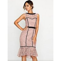 Paper Dolls Soft Lace Panel Detail Dress, Dusky Rose, Size 8, Women