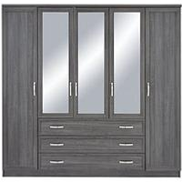 Product photograph showing Camberley 5 Door 3 Drawer Mirrored Wardrobe