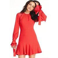 Michelle Keegan Tie Lace Ruffle Sleeve Dress - Red, Red, Size 18, Women