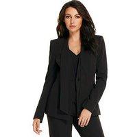 Michelle Keegan Tie Neck Suit Jacket, Black, Size 10, Women