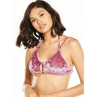 Rare Crushed Velvet Ring Detail Bikini Top - Pink