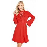 V by Very Star Lace Bodice Fit And Flare Dress, Red, Size 12, Women