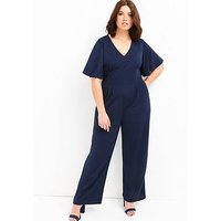 Girls On Film Curve Flare Sleeve Jumpsuit - Navy, Navy, Size 24, Women