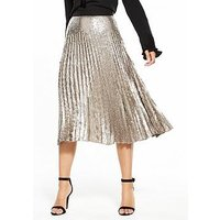 V by Very Pleated Sequin Skirt, Gold, Size 16, Women