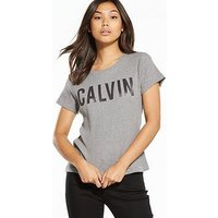 Calvin Klein Jeans Tanya 36 Short Sleeve T-shirt - Light Grey Heather, Light Grey Heather, Size S, Women
