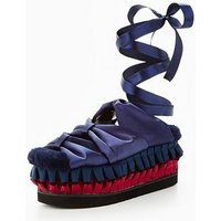 Lost Ink WRAP FLATFORM SANDAL, Navy, Size 5, Women