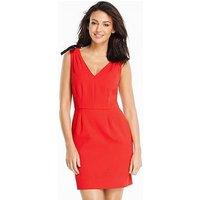 Michelle Keegan Bow Trim V Neck Dress, Red, Size 12, Women