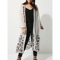 RI Plus Longline Embroidered Kimono, White Print, Size 24, Women