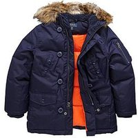Ralph Lauren Boys Faux Fur Hooded Parka, French Navy, Size Age: 14-16 Years=L