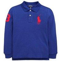 Ralph Lauren Boys Classic Long Sleeve Big Pony Polo, Royal American, Size 8 Years=S