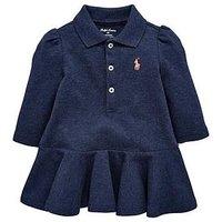 Ralph Lauren Baby Girls Classic Polo Dress, Blue, Size 3 Months