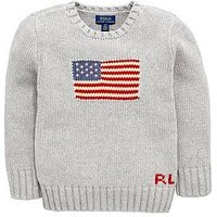 Ralph Lauren Boys Flag Knitted Sweater, Grey, Size Age: 8 Years=S