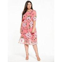 V by Very Curve Printed Midi Dress, Print, Size 28, Women