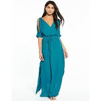 V by Very Ring Detail Cold Shoulder Beach Maxi Dress, Teal, Size 12, Women