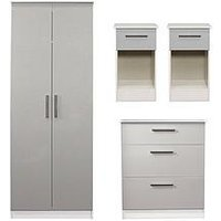 Swift Montreal Gloss 4-Piece Ready Assembled Package &Ndash; 2-Door Wardrobe, 3-Drawer Chest And 2 Bedside Chests